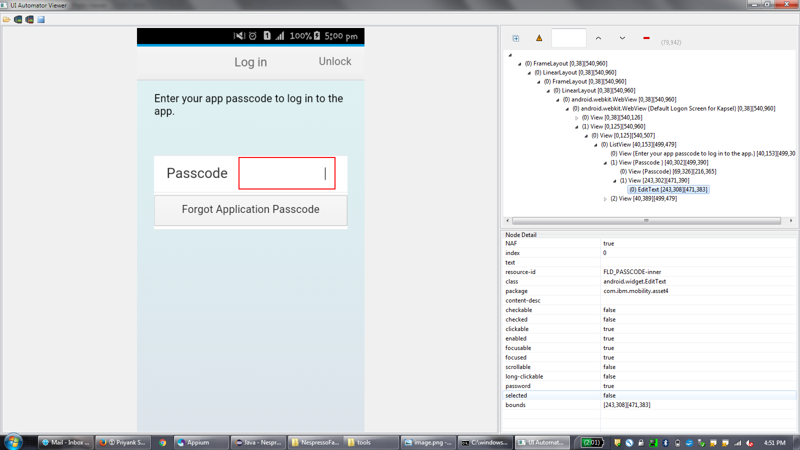 sendKey not working for android view View class - Support - Appium