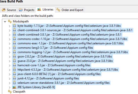 Appium first time set Up - Appium Jar file import issue