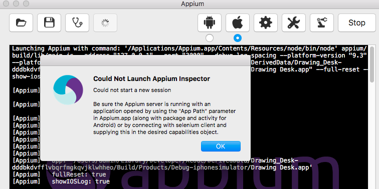 Could Not Launch Appium Inspector Xcode 8, appium 1 5 3