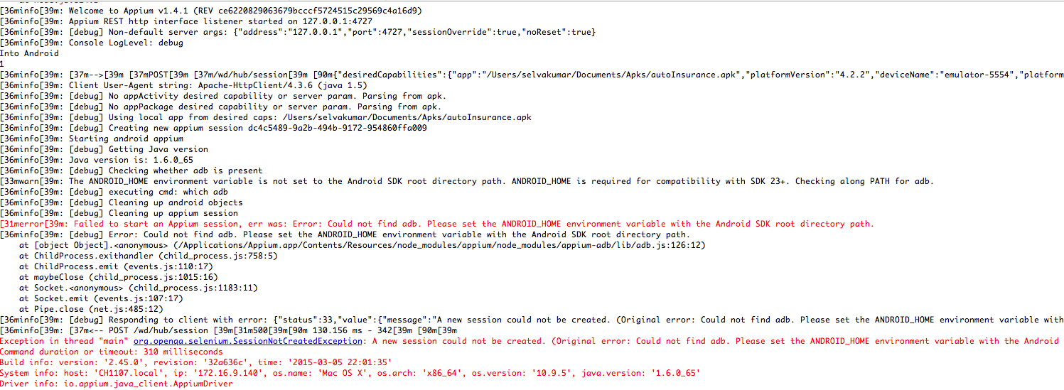 Could not find adb  Please set the ANDROID_HOME environment variable