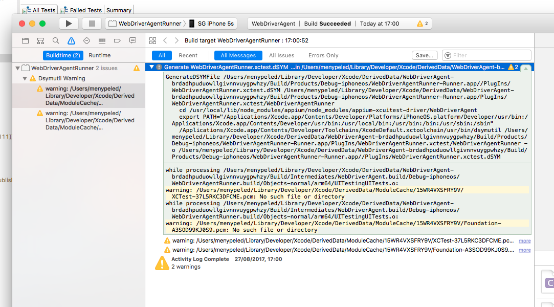 While opening the WebDriverAgent on xcode a weird warning